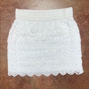 Ivory lace high waisted mini skirt